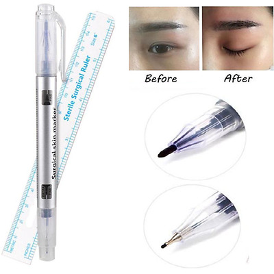 Microblading Tattoo Eyebrow Skin Marker Pen With Measure Measuring Ruler Set JT