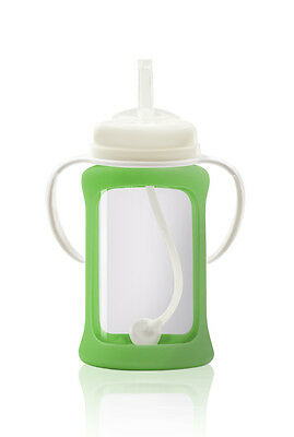 Cherub Baby Glass Straw Cup & Silicone Shock Proof Sleeve Wide Neck 240ml Green