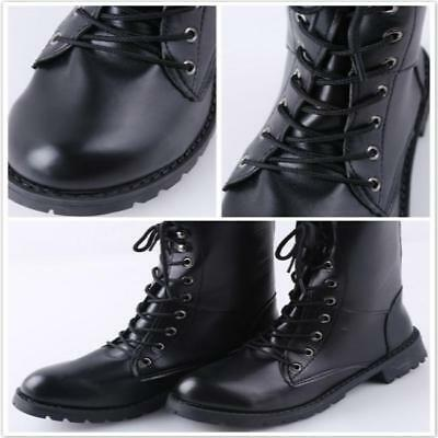 Women's Punk Gothic Military Combat Boots Mid Calf Lace Up Casual Motorcycle CB