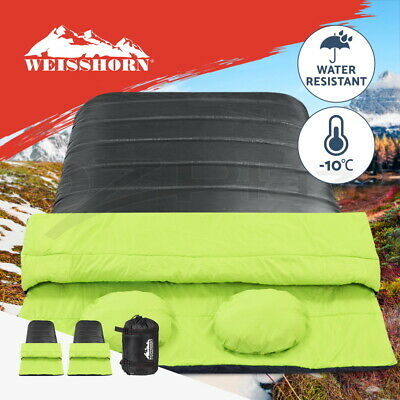 WEISSHORN Camping Envelope Sleeping Bag -20°C Single Thermal Tent Hiking Grey