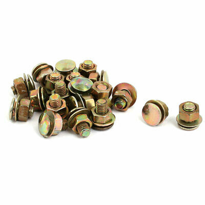 20 Pcs Metal M6 x 8mm Pan Head Screw Nut w Washer Brass Tone