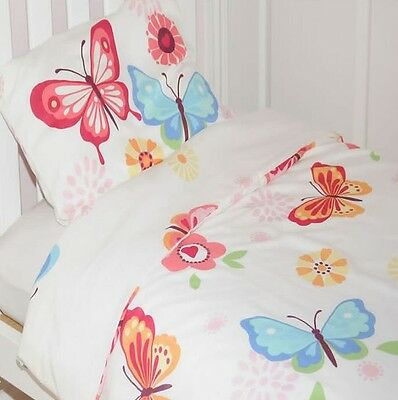 NEW Multi Coloured Butterflies Toddler Duvet Cover Set - White