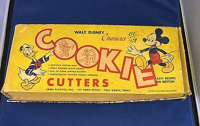 Walt Disney Character Cookie Cutters Vintage Loma Plastics Red Set Boxed Mickey