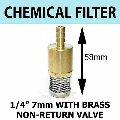 "Brass Chemical  Detergent FILTER Pressure Washer 1/4"" 6mm C/W Non Return Valve"