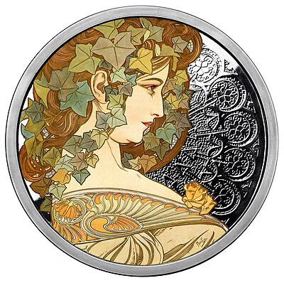 Alphonse Mucha Ivy 1 Oz Silver Coin Colorized #5 In Series #coa Anonymous Mint