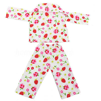 Cute Pajamas Strawberry Nightgown Doll Clothes Set for 18'' American Baby Dolls