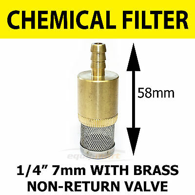 Chemical Filter 1/4 7 mm C/W Non Return Valve Pressure Washer Heavy Duty Brass