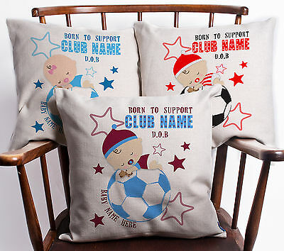 Personalised Christening Gift Baby Boy Girl Football Cushion Cover New Born