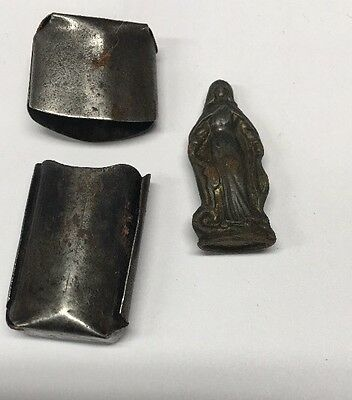 Vintage Pocket Holy Medal Mother Mary Silver Plate Case with Figurine RARE