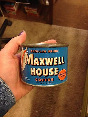 ANTIQUE MAXWELL HOUSE 4 ounce COFFEE TIN KITCHEN collector's EMPTY SEALED