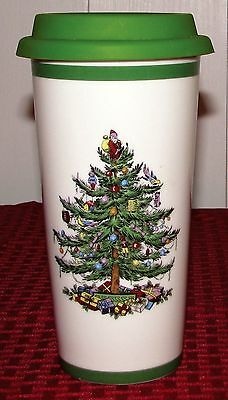 Spode Christmas Tree S3324 16 oz. Travel Tumbler With Silicon Lid - EXCELLENT