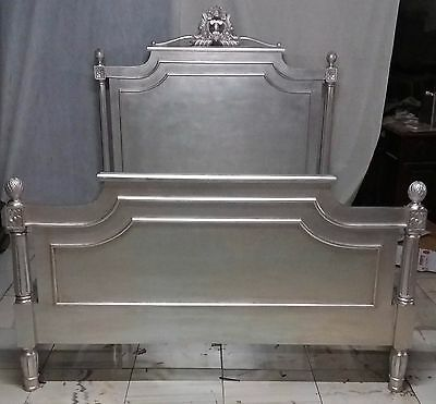 Mahogany Silver Finish 5' King French Louis Style Bed Carved Brand New