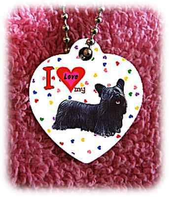 """Skye Terrier Dog heart necklace 24"""" chain background of hearts"""