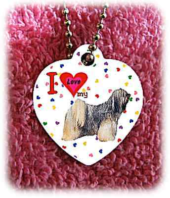 "Tibetan Terrier Dog heart necklace 24"" chain background of hearts"