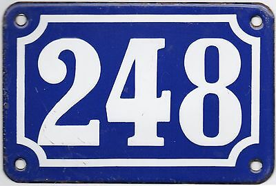 Old blue French house number 248 door gate plate plaque enamel steel metal sign