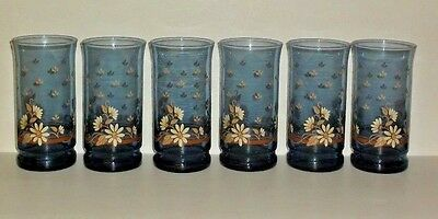VTG. LIBBEY BLUE FRANCO GLASSES / SET of 6 / DAISY PRINT / 10 OUNCE / RARE!!!!