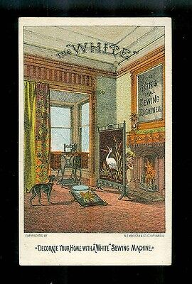 Parlor With Fireplace, Beautiful Drapes & Screen, Etc.-Victorian Trade Card