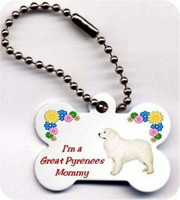 Mom dog bone shaped Great Pyrenees key ring chain 2 sided