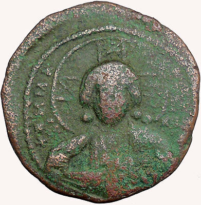 JESUS CHRIST Class A2 Anonymous Ancient 1028AD Byzantine Follis Coin  i33948