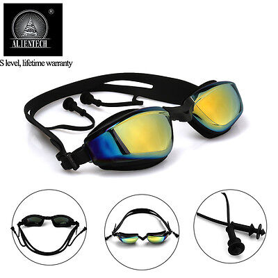 Alientech Anti Fog HD UV Mirrored Swimming Goggles Soft Glasses +Ear Plugs Adult