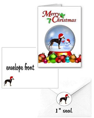 30 Manchester Terrier Christmas cards seals envelopes 90 pieces snow globe
