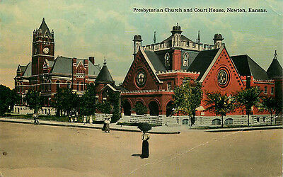 Postcard Presbyterian Church & Court House, Newton, Kansas - used in 1915