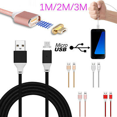 1M/2M/3M LED Magnetic Adapter Micro USB Fast Charger Data Cable Cord For Android