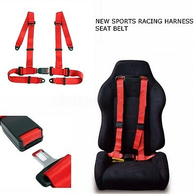 Universal Quick Release Sport Racing Harness Safety Seat Belt 3 4 Point Mounting