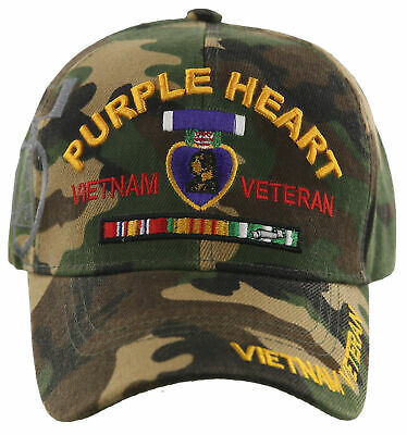Embroidered Purple Heart Combat Wounded Military Style Premium Cap Hat RUF
