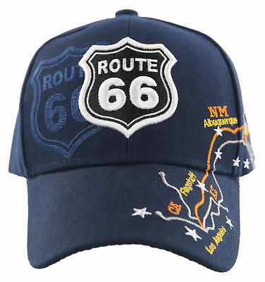 New! Us Route 66 Los Angeles To Chicago Route Map Cap Hat Navy
