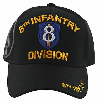 New! Us Army 8Th Infantry Division Military Ball Cap Hat Black