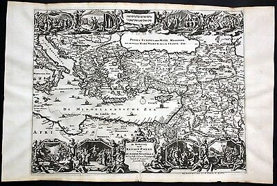 1730 Mittelmeer Mediterranean Sea Cyprus Turkey Asia Minor map Karte Stoopendaal