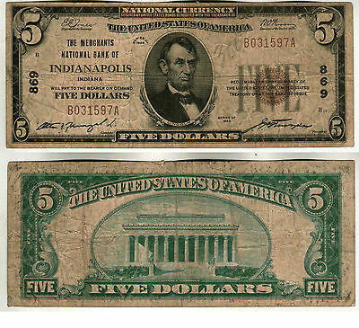 1929 The Merchants National Bank Of Indianapolis In $5.00