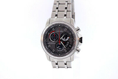 Men's Citizen BY0100-51H Eco-Drive Chrono-Time A-T Stainless Gray Dial Watch