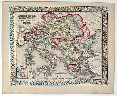 1871 Austrian Empire Italy Turkey Greece, Mitchell Antique Hand-Colored Map
