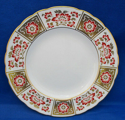 "Salad Plate Royal Crown DERBY RED PANEL Flowers Gold Trim 8.5"" Excellent"