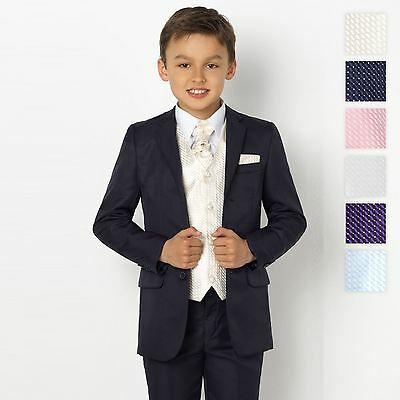 Boys Navy Suit, Page Boy Suits, Boys Prom Suits, Swirl Waistcoat Set