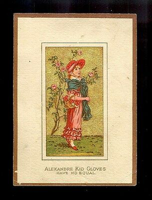 Alexandre Kid Gloves-sold at Marshall Field & Co.-Victorian Trade Card-SALE