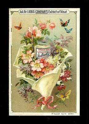 Tin of Liebig Meat Extract in A Flower Bouquet-1880s Victorian Trade Card-SALE