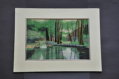 Hand Made Vintage Silk Embroidered Mounted Picture - Forest