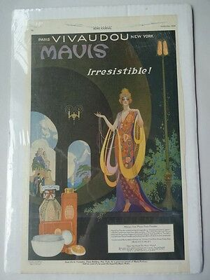 1920 Vivaudou Mavis Cosmetics Ad Page Painted by Fred Packer Ladies Home Journal