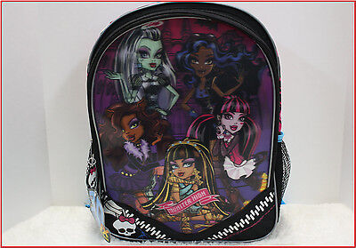 """MONSTER HIGH Large 16"""" BACKPACK  3D FX Bag Frankie Laura Clawdeen BLACK 🌟NEW🌟"""