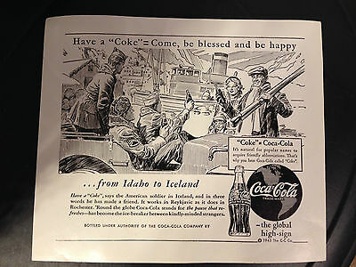 Rare Coca Cola 1943 Advertising Idaho Iceland Soldiers Ad