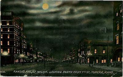 Postcard Kansas Avenue Street Scene at Night, Topeka, Kansas - used in 1913