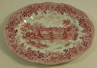 Vintage J & G Meakin Romantic England Red Oval Serving Plate Meat Dish Beautiful