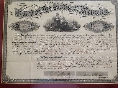 1865 Framed Nevada State Bond Pay in Gold Coin to William C Ralston
