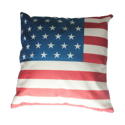 United States of America USA Flag Cotton Linen Throw Pillow Case Cushion Cover