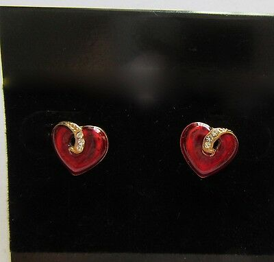 Fashion earrings- Studs- Heart Shape- red- gold-small clear stones-post back