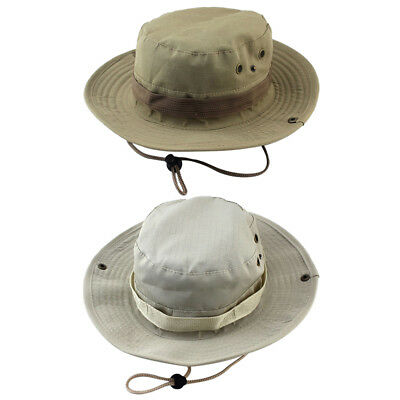 2pc Mens Bucket Sun Hat Boonie Hunting Fishing Outdoor Wide Brim Canvas Cap