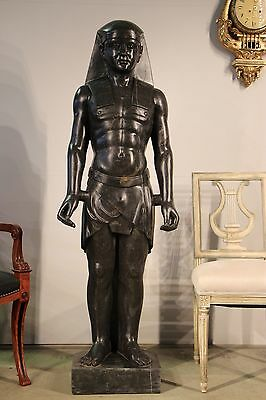 HUGE rare antique SOLID MARBLE sculpture Ancient Egyptian Pharaoh statue Regency